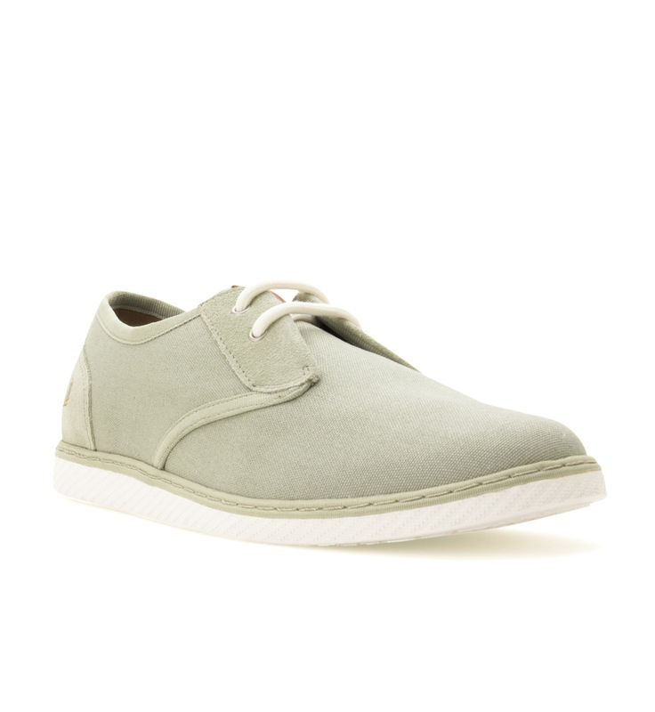 FRED PERRY Men's Delby Canvas & Suede Shoe Pale Olive - This smart casual style is crafted from a canvas and soft suede mix. Featuring tonal webbing used to accent the trim lines with contrast coloured round cotton laces. Designed with a slightly wider fit. Complete with embossed Laurel Wreath on the heel and leather tongue tab. Upper: Textile & Suede / Sole: Rubber Not machine washable Style No. (B4256)
