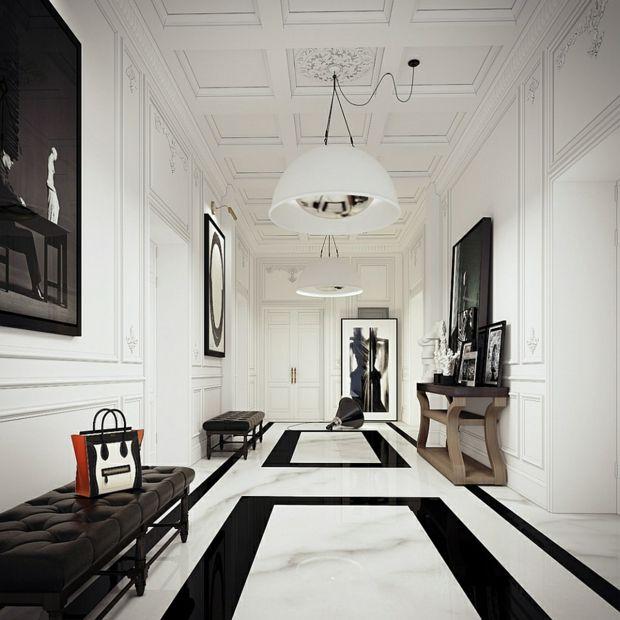 décoration noire et blanche et sol en marbre