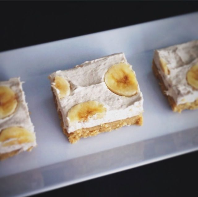 No-bake banana cream pie bar is great for Paleo diets. Almond flour and sunflower seed butter crust, with coconut cream and mashed bananas for the topping.