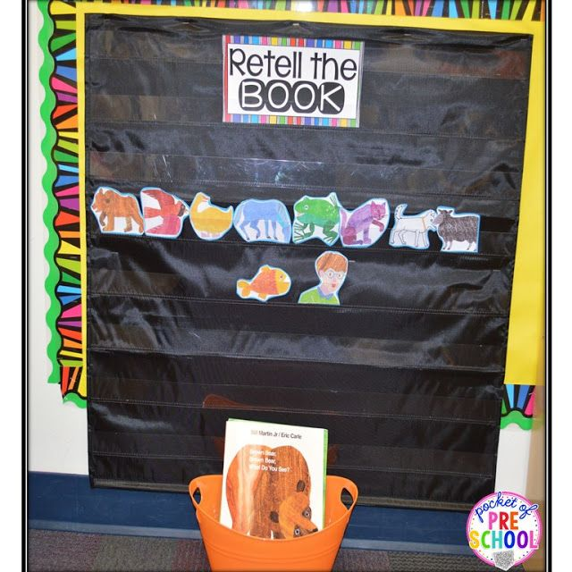 Book retelling pocket chart: students can retell the book using story/character cards to build reading comprehension.