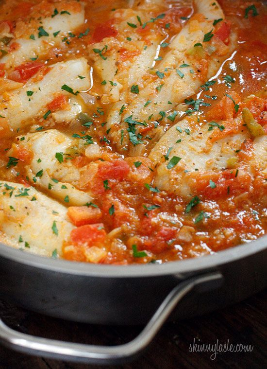 Skillet Cajun Spiced Flounder with Tomatoes | Skinnytaste Princess Tiana cooking up Ariel's friend!