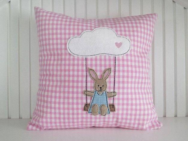 Stickmuster - Hasenmädchen auf der Wolkenschaukel 10x10 - ein Designerstück von Stickherz bei DaWanda
