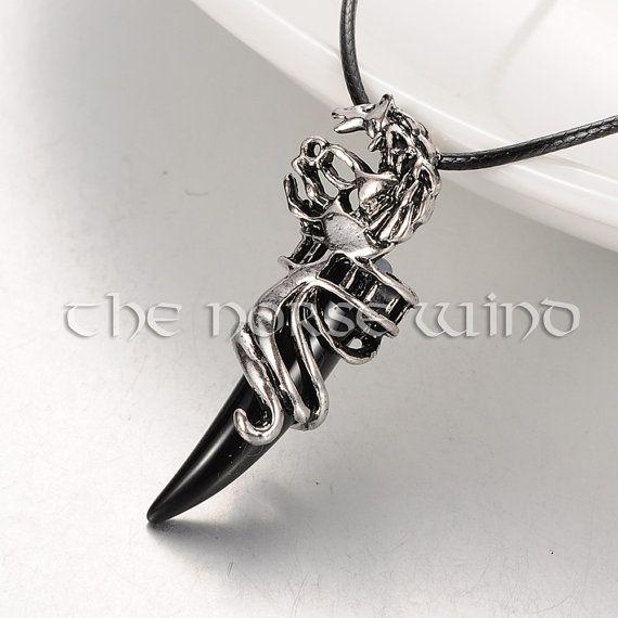 Viking Wolf Head Necklace, Black Tooth Pendant, Fenrir Wolf Necklace, Viking Amulet, Celtic Necklace, Norse Mythology, Viking Jewelry