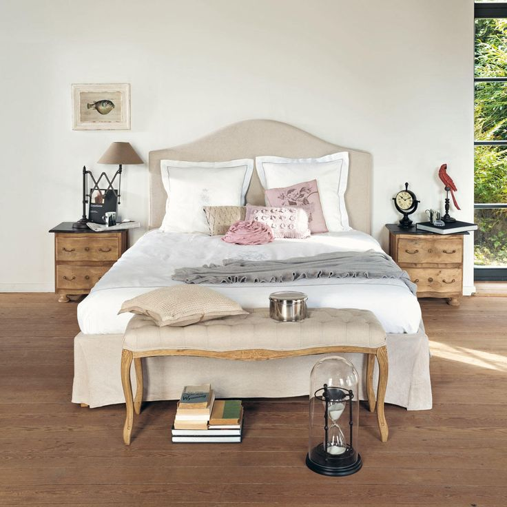 gepolsterte Bettbank aus Eiche, B 114cm Barocco Barocco | Maisons du Monde