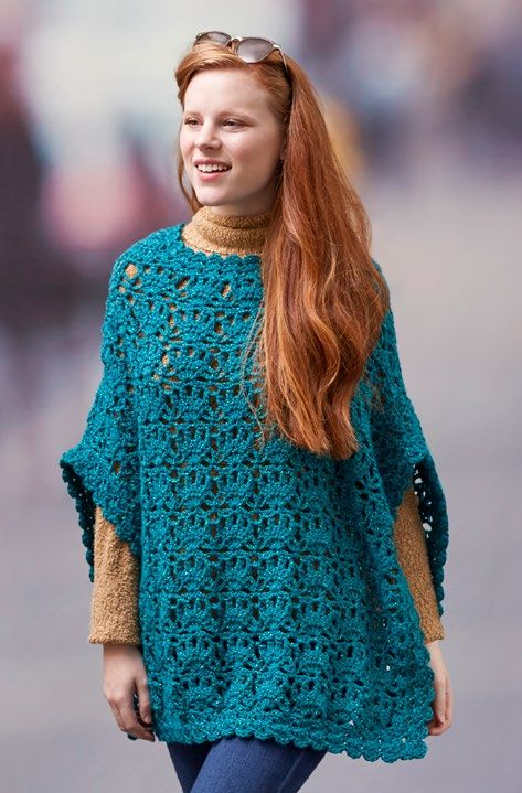 Free Let's Party Poncho Crochet Pattern from www.RedHeart.com