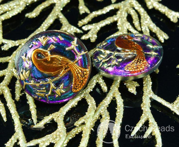 ✔ What's Hot Today: Handmade Czech Glass Buttons Dark Gold Peacock Volcano…