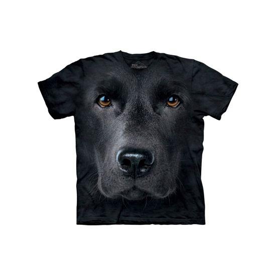 Kinder honden T-shirt zwarte Labrador. T-shirt van het merk The Mountain met afbeelding van het gezicht van een zwarte Labrador. Dit T-shirt met fotoprint is gemaakt met milieuvriendelijke inkten. Materiaal: 100% katoen.