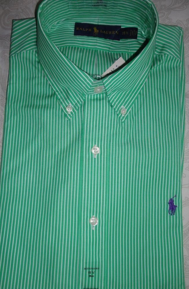 e05fdce578 NWT Polo Ralph Lauren Green Striped Dress Shirt Men's Size 15 1/2 #fashion # clothing #shoes #accessories #mensclothing #shirts (ebay link)