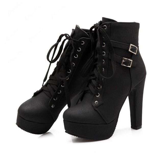 Shoespie Lace up Chunky Heel Ankle Boots (€48) ❤ liked on Polyvore featuring shoes, boots, ankle booties, heels, sapatos, black, black chunky heel booties, lace-up booties, ankle boots and lace up chunky heel booties