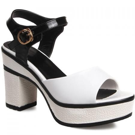 Casual Color Block and Chunky Heeled Design Sandals For Women