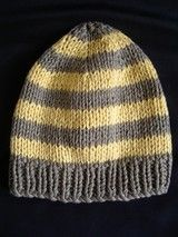 FREE knitting pattern for a kids 8ply striped beanie.