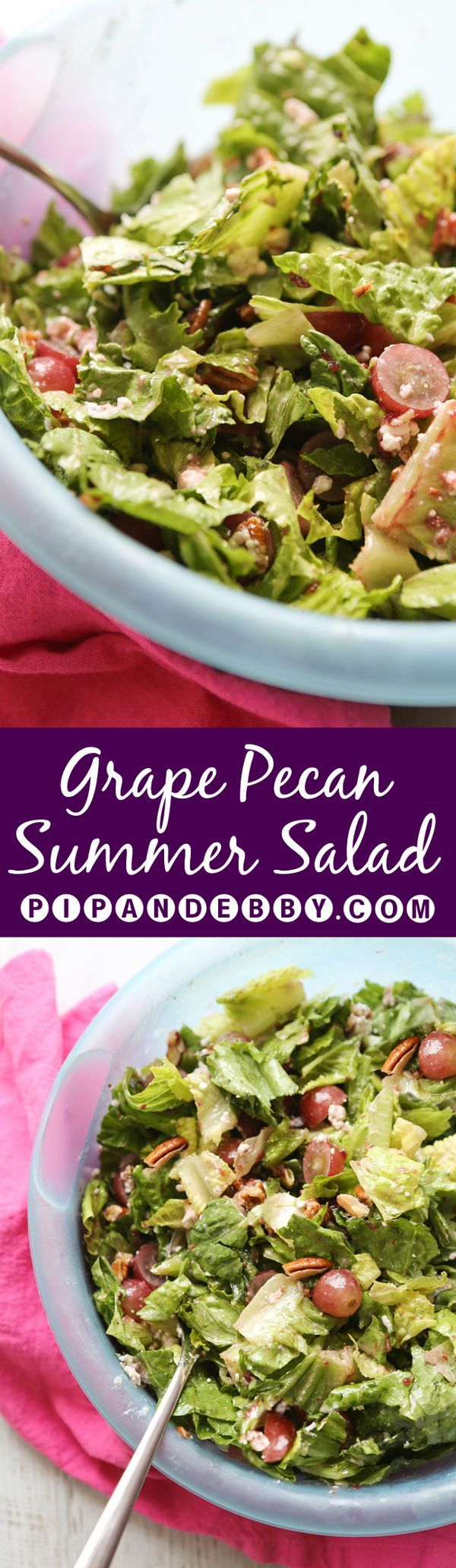 Grape Pecan Summer Salad with Raspberry Vinaigrette | Such a simple salad, yet so delicious!