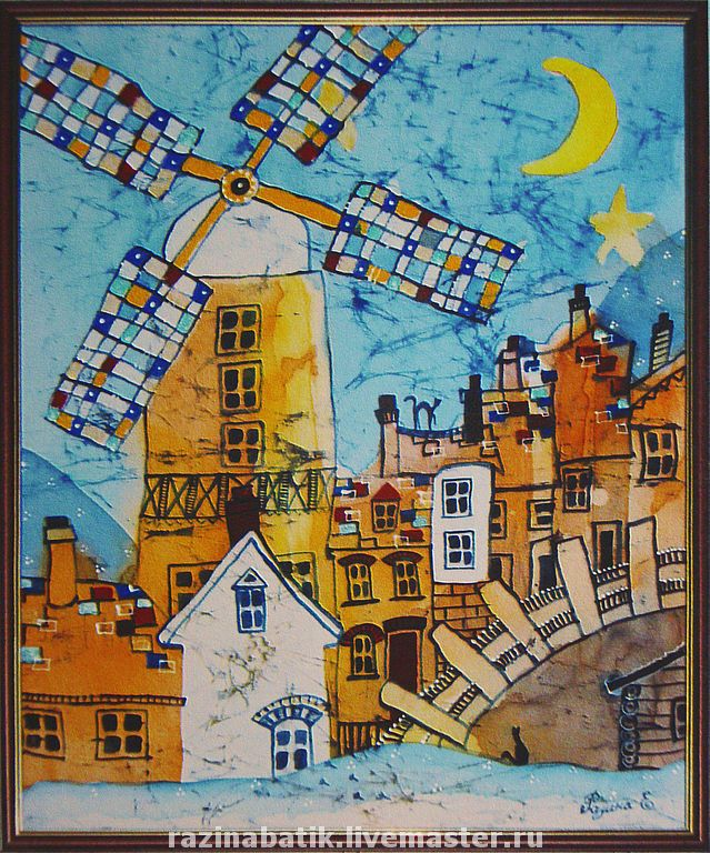 Купить Сказочные города - город, Батик, картина в подарок, сказочный домик, сказочный город, детство