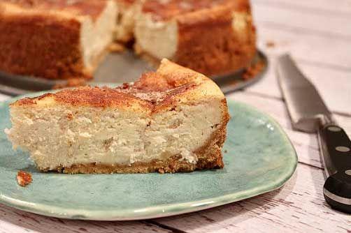Snickerdoodle Cheesecake: shortbread cookies, white sugar, butter, cream cheese, large eggs, sour cream, white sugar, Gold Medal All-Purpose Flour, vanilla extract, ground cinnamon, cinnamon, white sugar