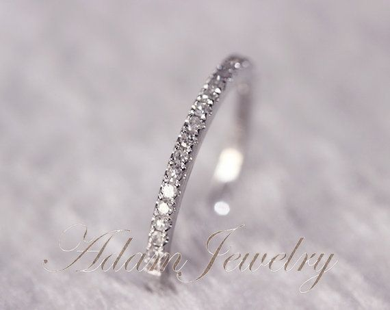 Thin Design 14k White Gold Wedding Ring Pave 0.17ct SI/H Diamond  Engagement Ring/ Matching Band/ Full Eternity Band