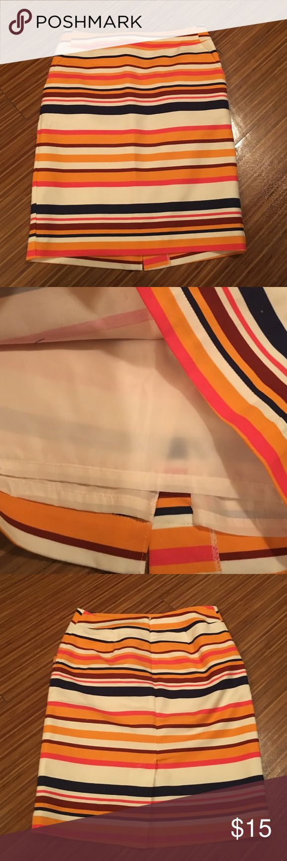 Striped multi-color pencil skirt Multi-colored striped pencil skirt with small slit in back and two pockets. Fully lined Merona Skirts Pencil