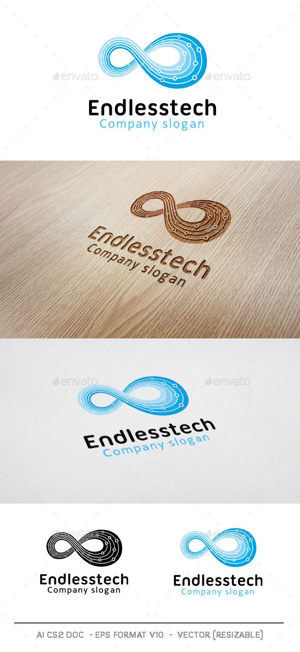 Endless Technology Logo, clean and unique, suitable to any kind of companies, Included files: – Ai (Cs),- Eps (V10), – Psd File- Txt fonts – Transpare…