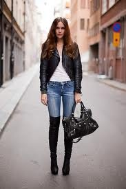 Want boots like these!!: Fashion, Outfit, Knee Boots, Street Styles, Cities Of Bones, Blazers, Leather Jackets, Balenciaga Bags, Thighs High Boots Jeans