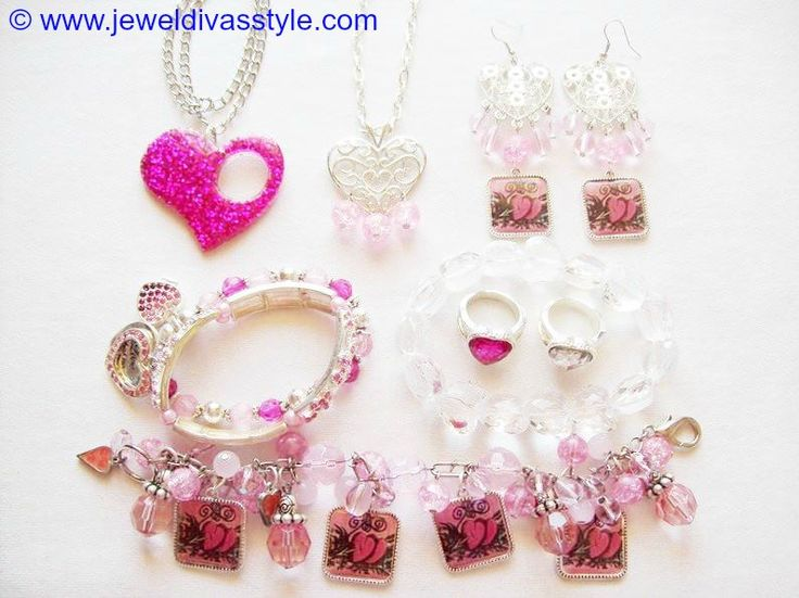 JDS - JEWEL DIVAS PINK HEART JEWELLERY SET