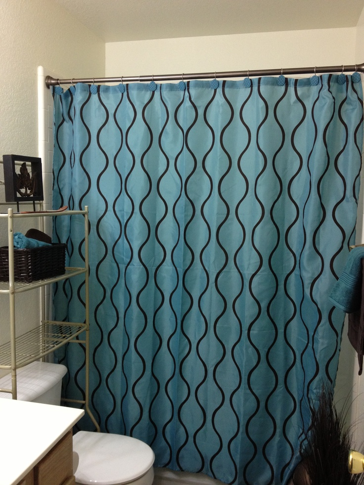 Teal brown shower curtain small bathroom ideas for Teal and brown bathroom decor