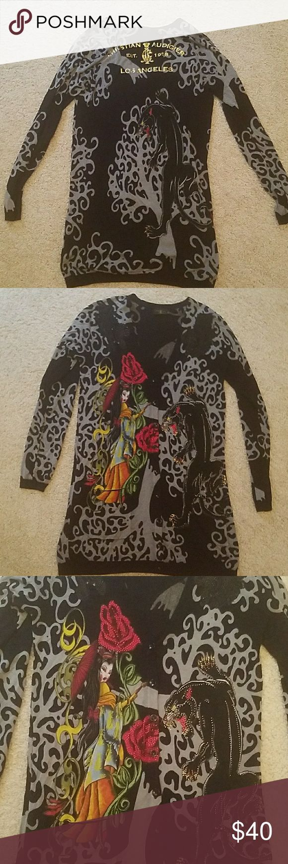 Authentic Christian Audigier panther cardigan Christian Audigier black/gray panther cardigan sweater sz large. Has rhinestones all over. Excellent condition. Very unique. Check out my closet for matching rain boots. Christian Audigier Sweaters Cardigans