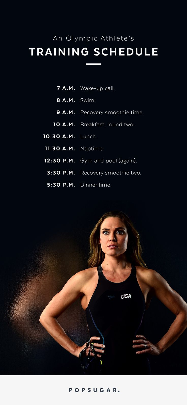 Olympic medalist swimmer Natalie Coughlin knows a thing or two about consistency. Check out her rigid and intense training schedule as she gears up for the Summer 2016 Olympic trials in Rio de Janeiro. THIS is how a swimmer stays so lean — hours upon hours of workouts!