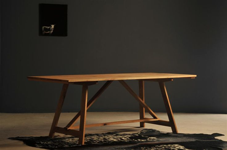 Farm style trestle table by Heartwood Furniture
