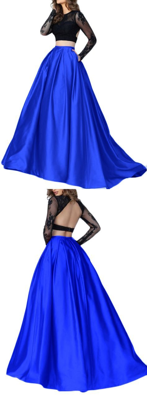 Two Piece Long Sleeves Lace Satin Prom Dress Royal Blue Evening Formal Gown #macloth #dress #gown #promdress #promgown #wedding #prom2017 #formaldress #formalgown #eveningdress #lacegown #2piecegown