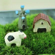 Hot New Mini Cow Windmills Ornament Miniature Figurine Plant Pot Garden Decor