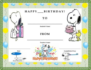 *BUY 2 BIRTHDAY AND/OR REWARD CERTIFICATES AND GET 1 FREE. CLICK ON BIRTHDAY & AWARD CERTIFICATES UNDER OUR CUSTOM CATEGORIES. E-MAIL US AT TWINBIZTEACHERS@GMAIL.COM WITH THE ONE YOU WANT AND WE WILL SEND IT TO YOU!* Birthday Certificate- Snoopy Theme- Kids Will Love It!!