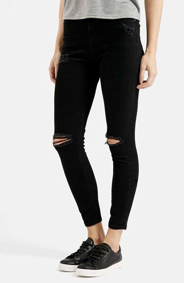 Size 30 regular Topshop+Moto+'Jamie'+Ripped+Long+Skinny+Jeans+(Black)+available+at+#Nordstrom $75