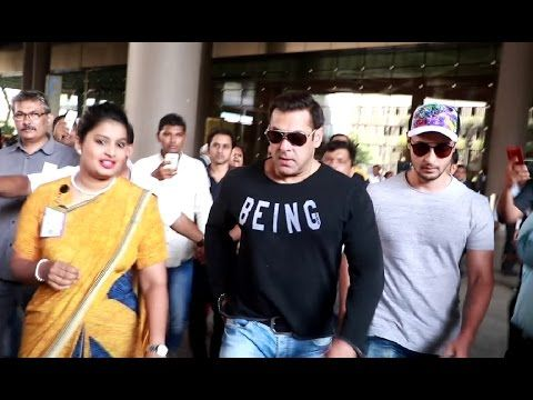 Salman Khan with brother in law Aayush Sharma spotted at Mumbai airport.