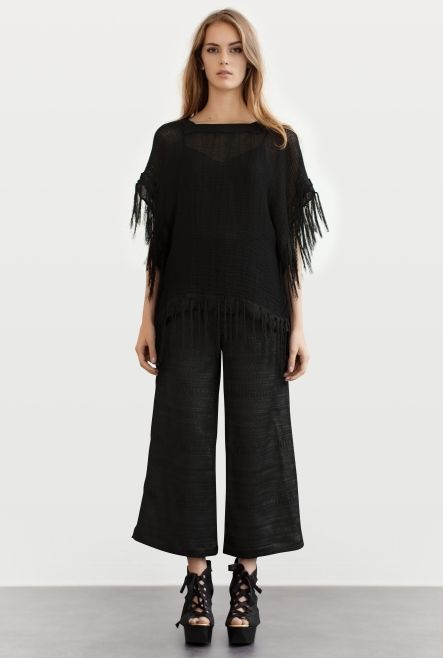 PONCHO Héry TERRY NET BLACK | Rodebjer