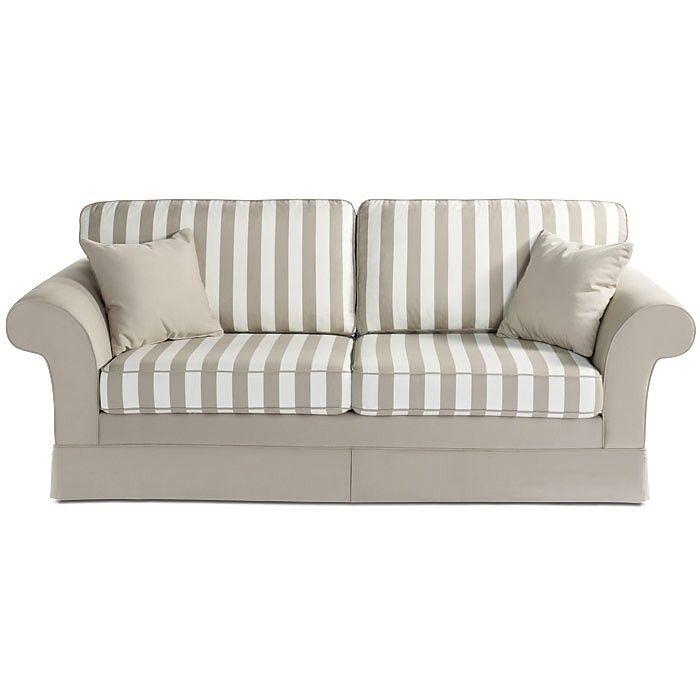 Sofa 3 Sitzer SABA Baumwolle hellbeige mit Streifen ca. L:226 x T:70 x H:91 cm  Sofa 3 Sitzer SABA<br /> Material Stoff: 100% Baumwolle<br /> Material Sitzkissen: ca. 35 kg Kaltschaum<br /> Material Polsterung/Federung: Nosagfederung (Wellenförmiger Federstahldraht- für besonders hohen Sitzkomfort)<br /> Material Gestell: Spanholz; Kiefernholz (Pinus); Sperrholz<br /> Materialherkunft: Polen<br /> Farbe: hellbeige mit Streifen<br /> Maße: ca. L:226 x T:70 x H:91 c...  699,00€