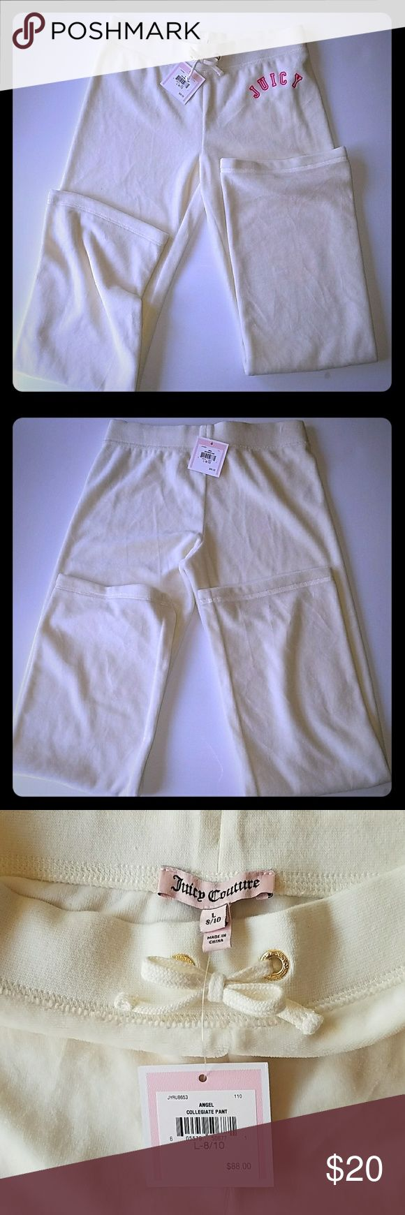 Girls Juicy Couture Velour Tracksuit Pants New and never worn, cream colored Juicy Couture girls pants, velour Juicy Couture Bottoms Sweatpants & Joggers