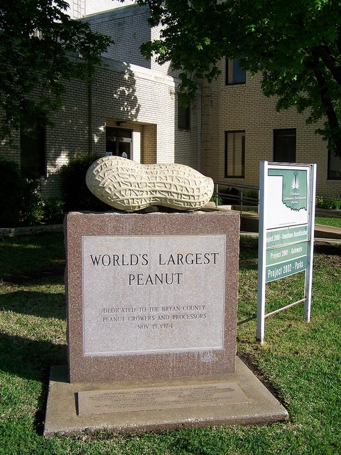 Worlds Largest Peanut, Durant, Oklahoma (seriously).