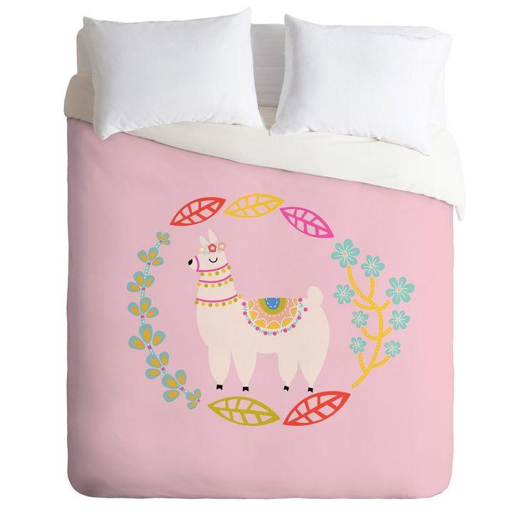 Hello Sayang Lola Llama Pink Duvet Cover | Deny Designs Home Accessories