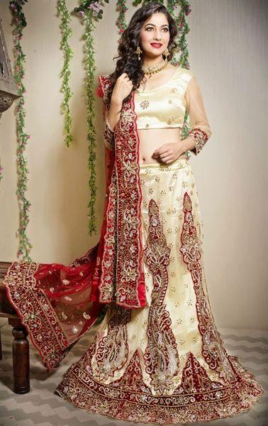 Picture of Glamorous Cream Wedding Lehenga Choli