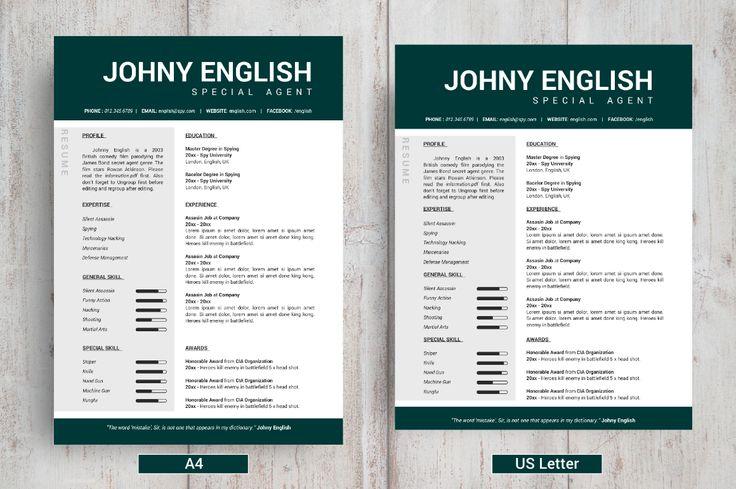 FREE Modern English Resume Template / CV on Behance