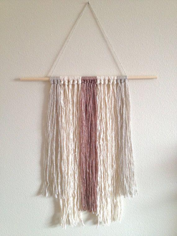Modern Wall fiber art neutral tassels Wall hanging by WallandWoven, $18.00