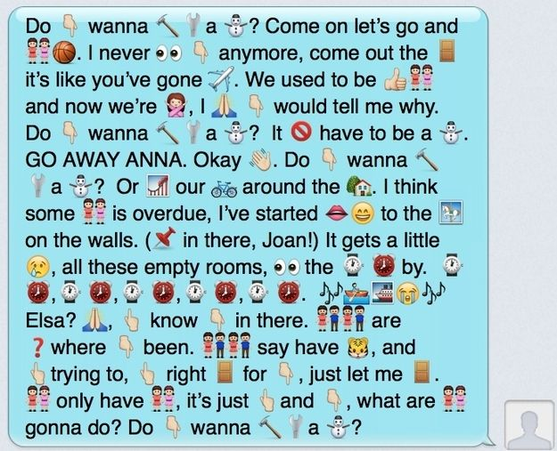 "3. | Your Favorite Disney's ""Frozen"" Lyrics Reenacted In Emojis"