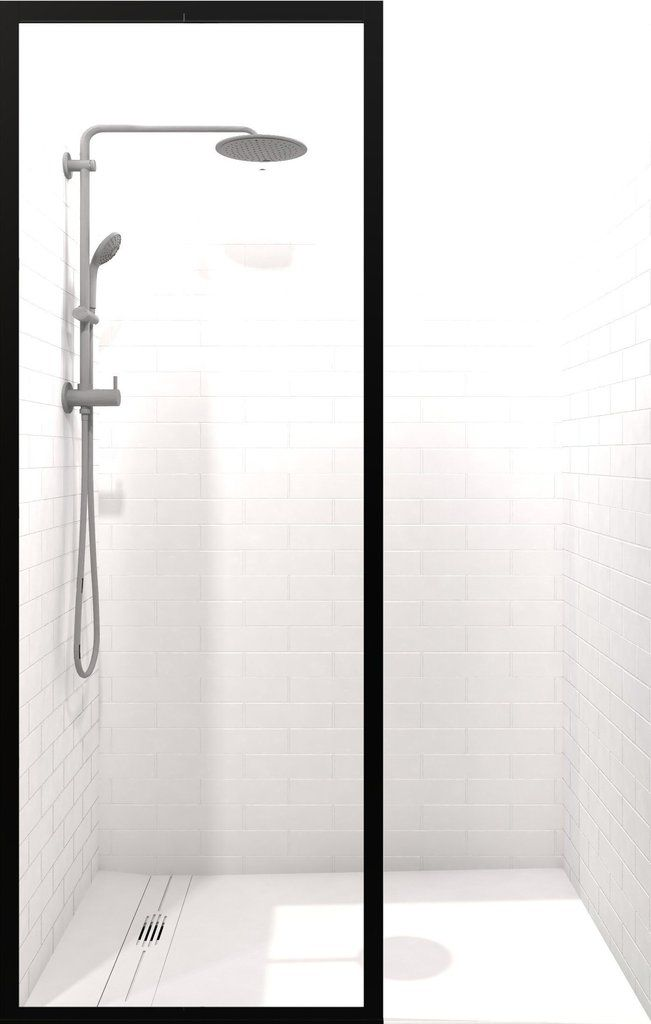 Gridscape Gs3 Shower Screen In Black With Clear Glass Glass Shower Panels Shower Doors Framed Shower