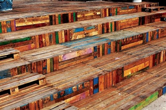 """Floors and stairs made from old shipping pallets! Pinned to """"It's a Pallet Jack"""" by Pamela"""