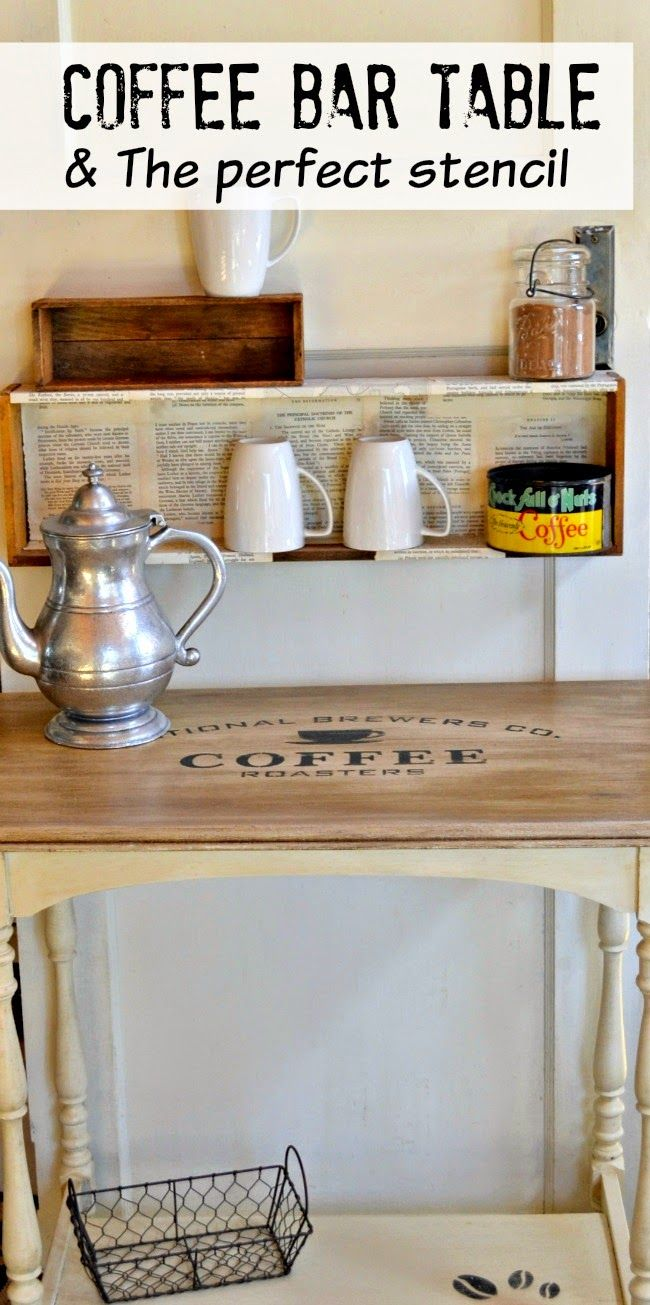 Coffee station table and the perfect stencil for Coffee station furniture