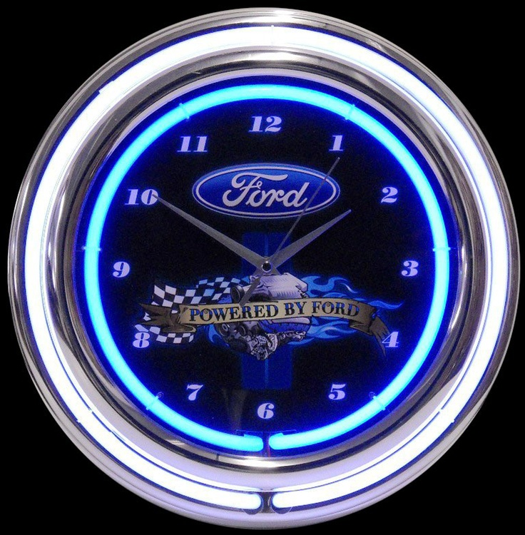 Man Cave Neon Clock : Powered by ford neon clock mancave man cave