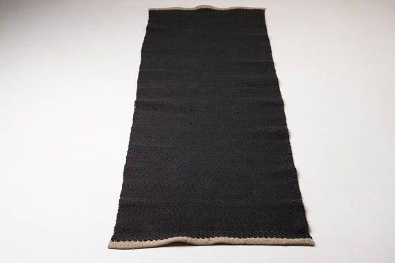 Tappeto in cotone grigio scuro, corridore di 3 x 7 ft