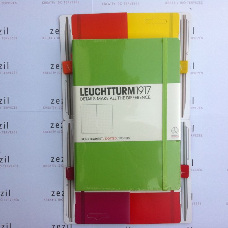 Limezöld színű Leuchtturm1917 A5-ös méretű ponthálós jegyzetfüzet narancssárga, citromsárga, málna színű és piros tolltartó gumival.  Leuchtturm1917 | pen loop | zezil