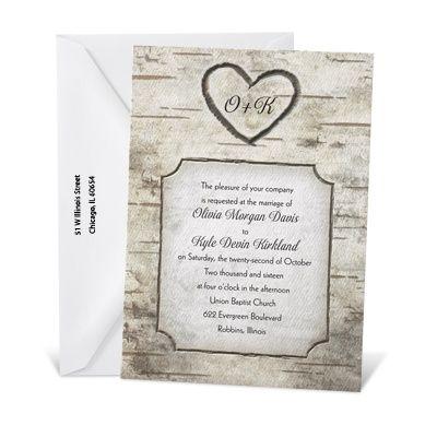 Woodsy Monogram Wedding Invitation