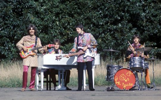 The Beatles perform 'I Am The Walrus' for the film Magical Mystery Tour. West Malling Air Station, Kent, England. September 20, 1967