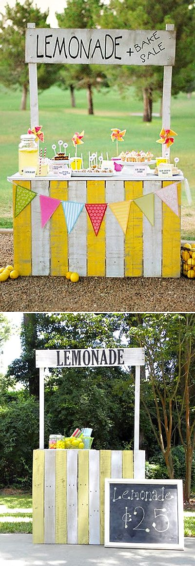 diy lemonade stand. would be awesome as a kissing booth, cake table or candy station at your wedding.